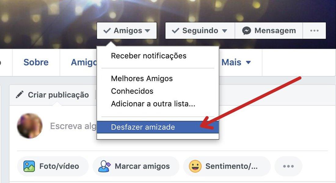 2 Passo: Como desfazer amizade no Facebook