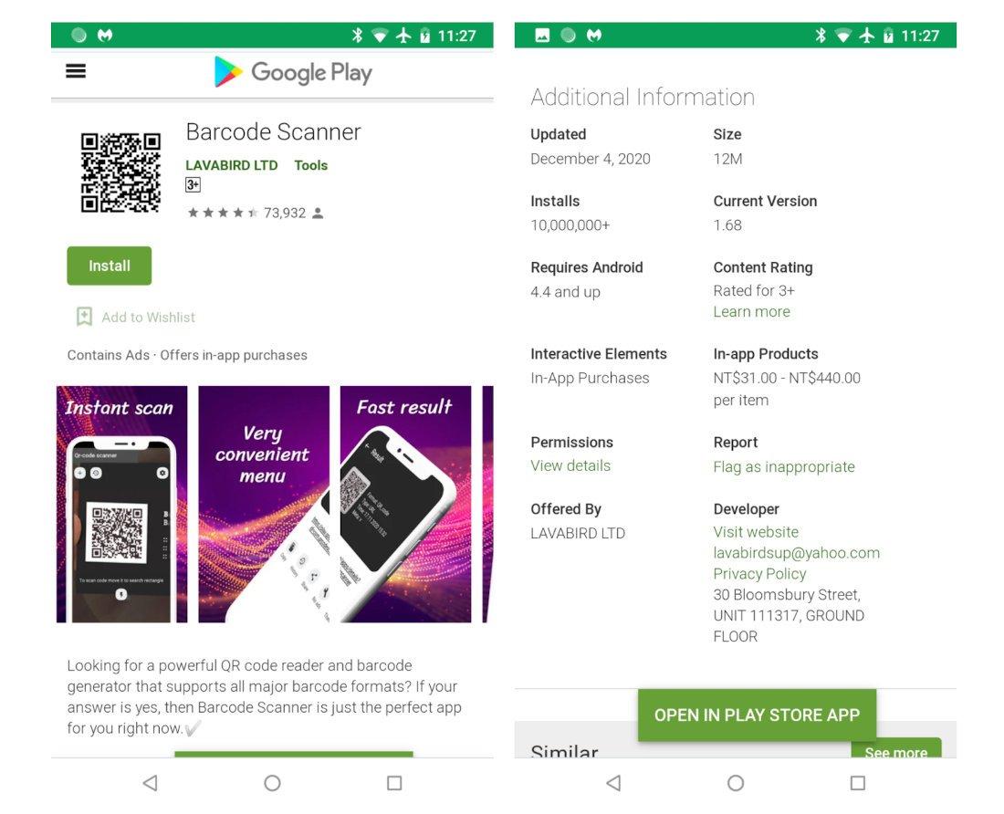 Desinstalar aplicativo Barcode Scanner google paly