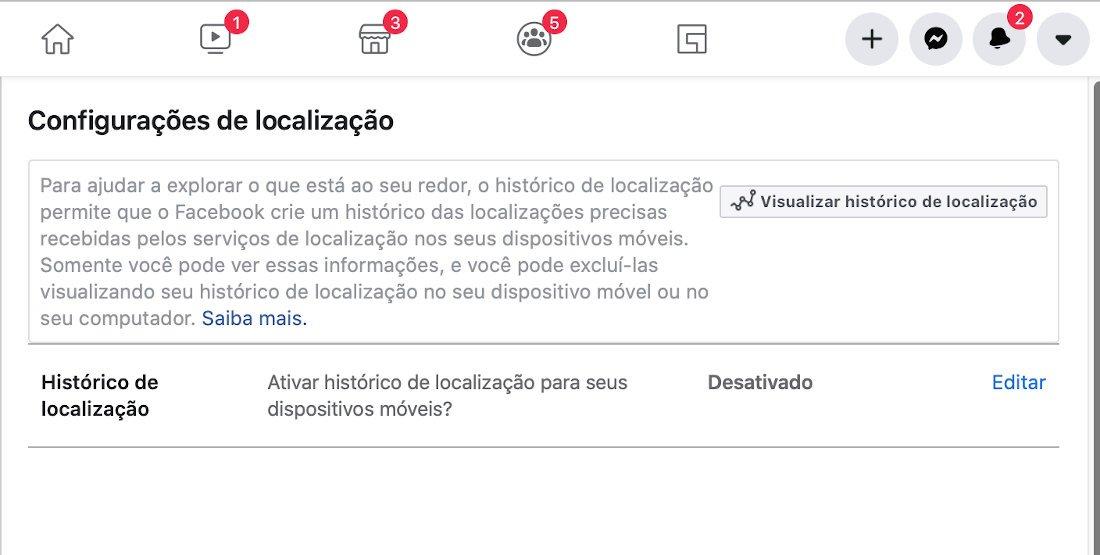 desativar o histórico de localização do Facebook