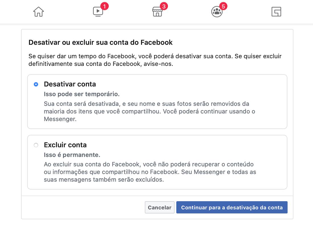 Como desativar sua conta do Facebook?