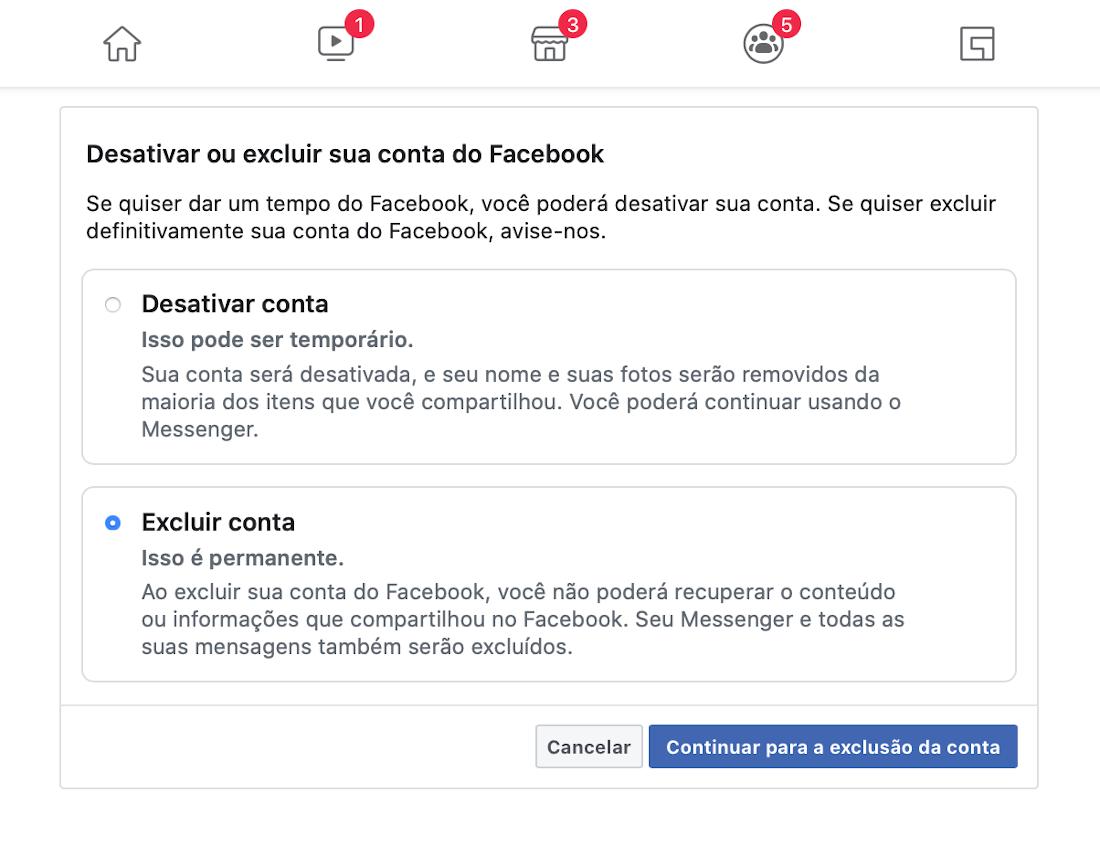 Como excluir sua conta do Facebook?