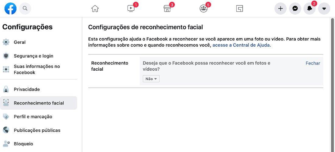 desativar o reconhecimento facial do Facebook
